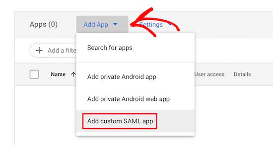 添加自定义SAML app