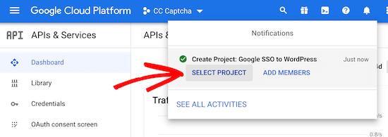 选择Google开发者项目
