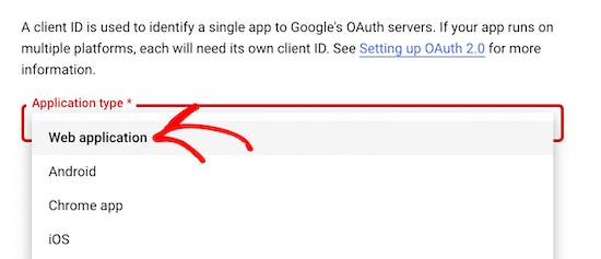 谷歌API应用类型设置