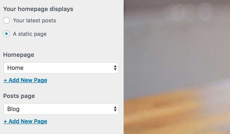 设置WP主页为静态页面