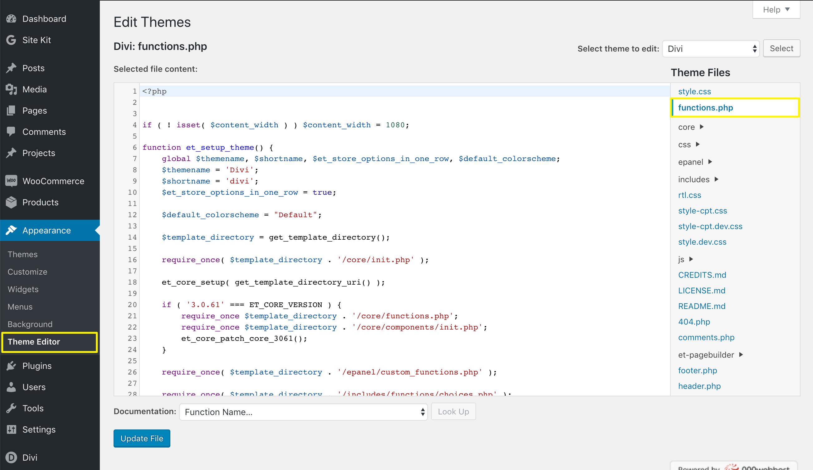 编辑主题functions.php