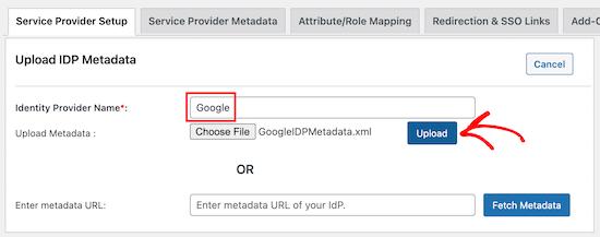 选择Google提供商及上传元数据文件
