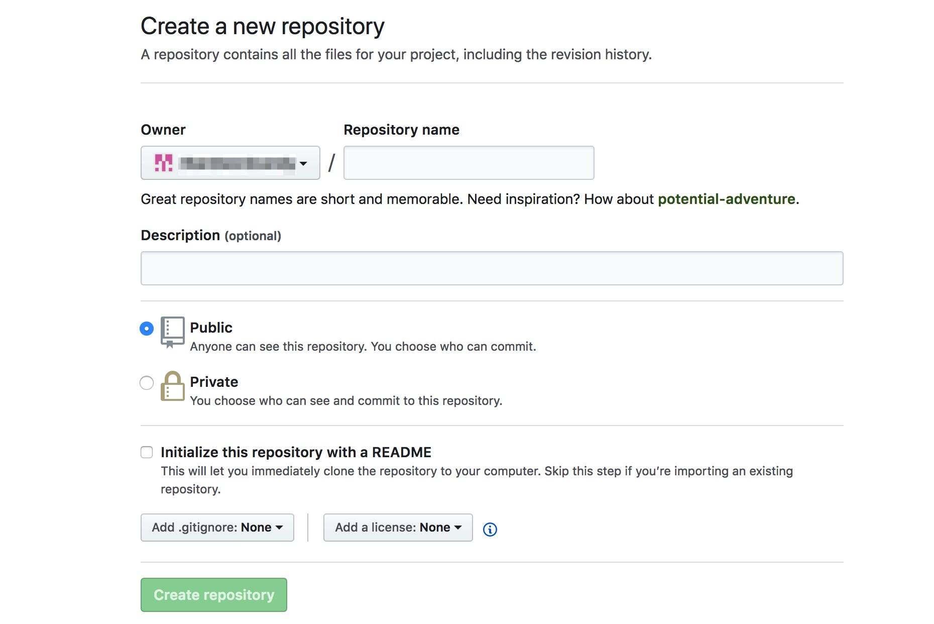 创建GitHub存储库