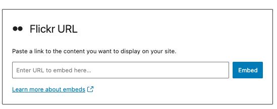 Flickr嵌入区块URL