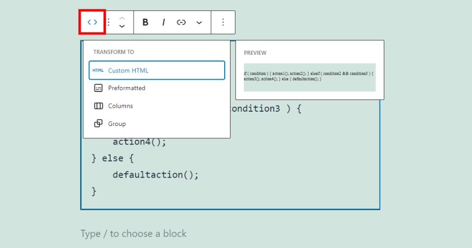 更改代码区块类型或样式