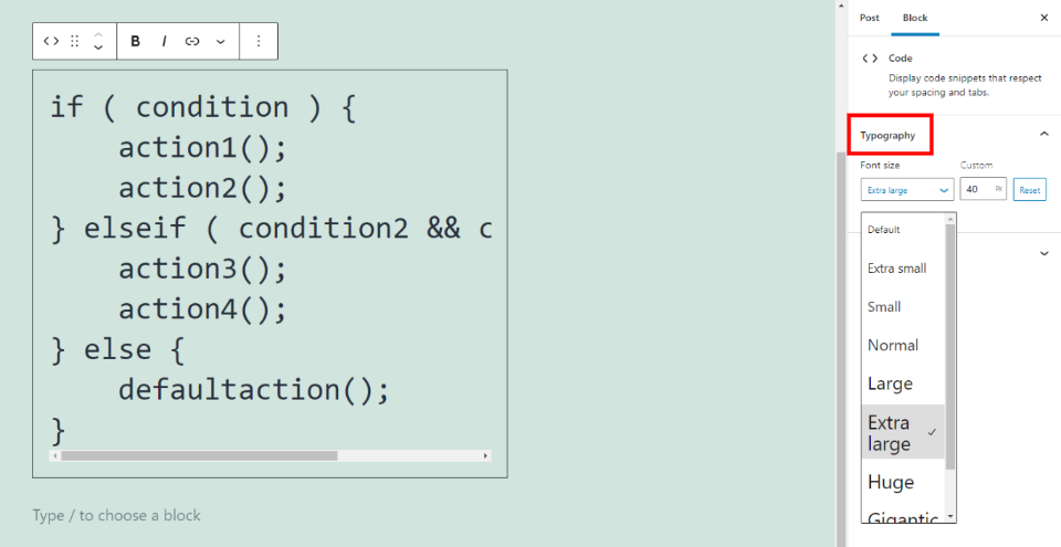 代码区块排版设置