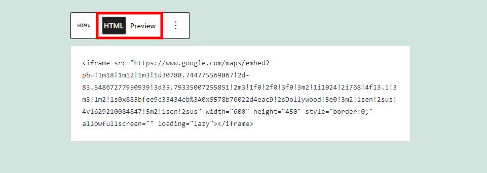 自定义HTML区块的HTML和预览