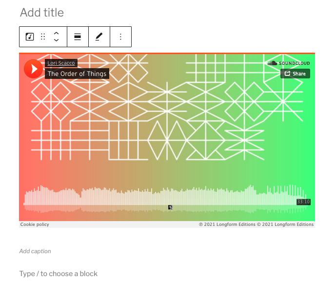 SoundCloud嵌入区块编辑