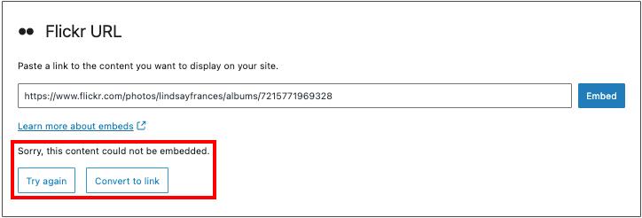 Flickr嵌入区块报错