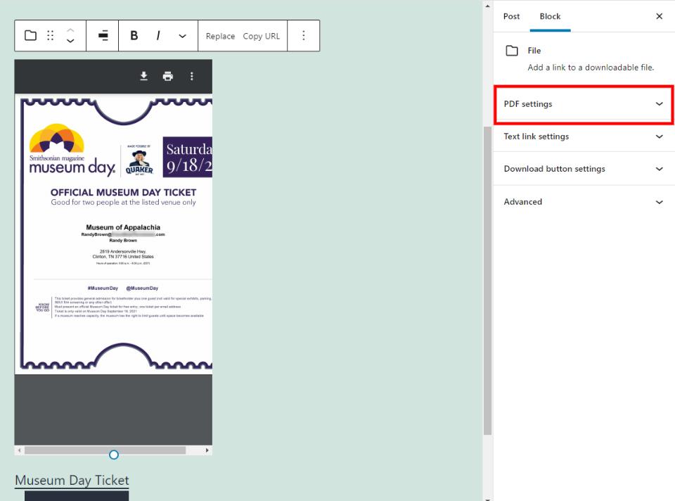 文件区块PDF设置