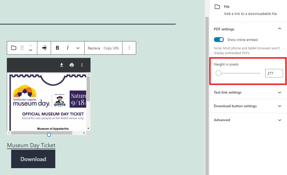 文件区块PDF预览高度