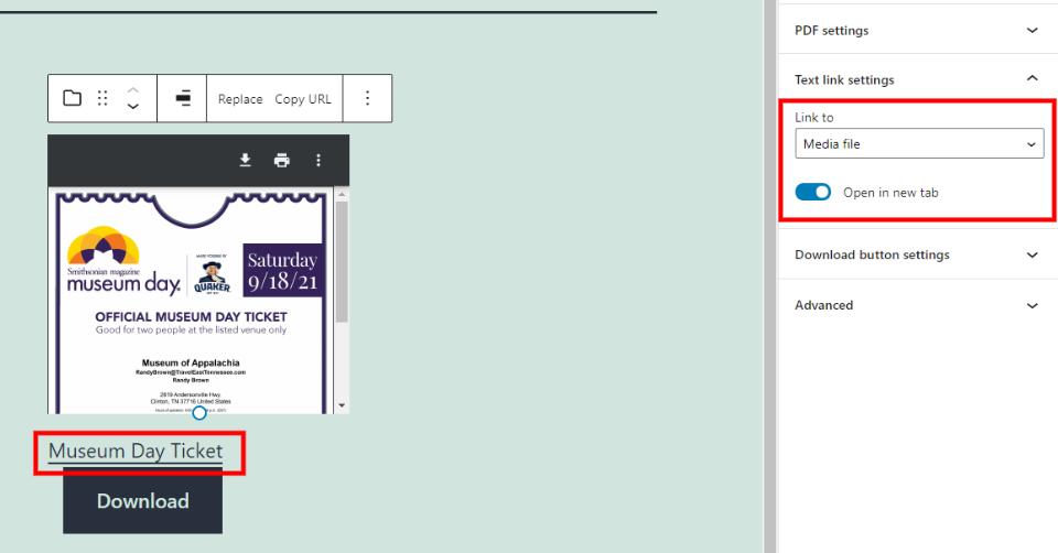 文件区块文本链接设置