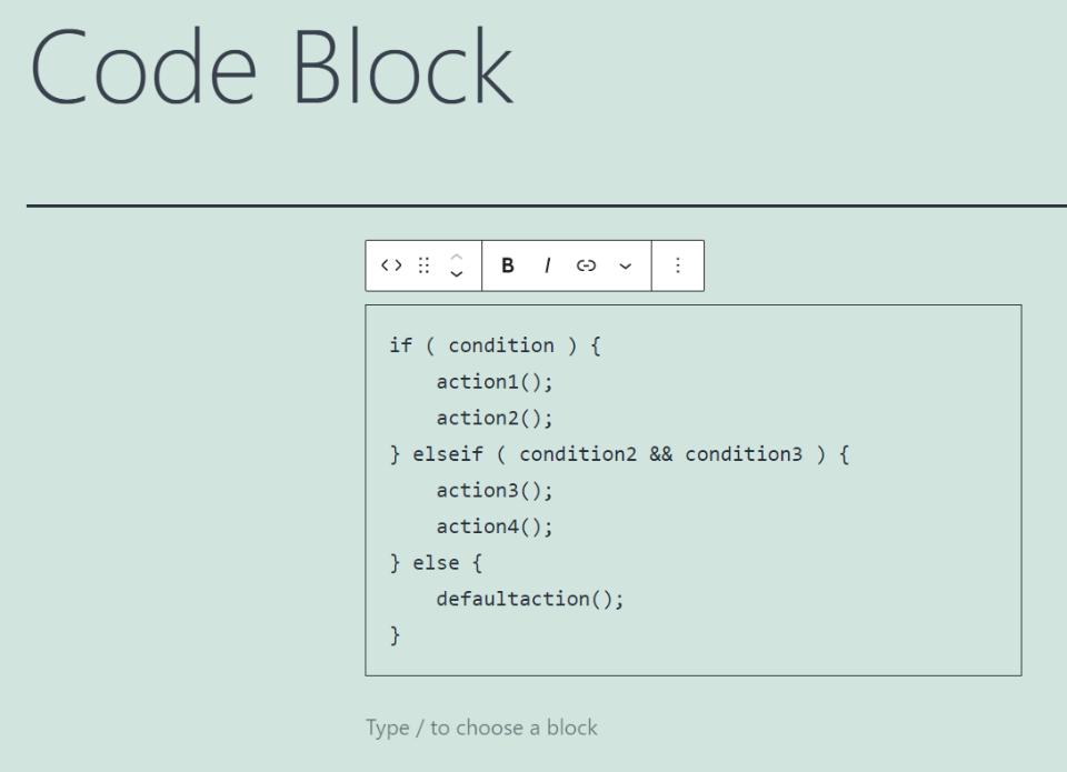 代码区块示例
