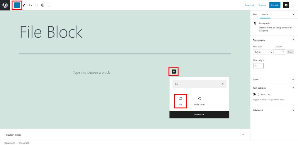 添加文件区块