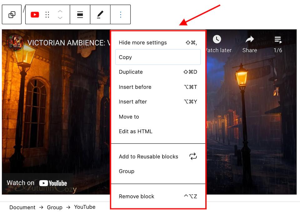 YouTube嵌入区块更多设置选项