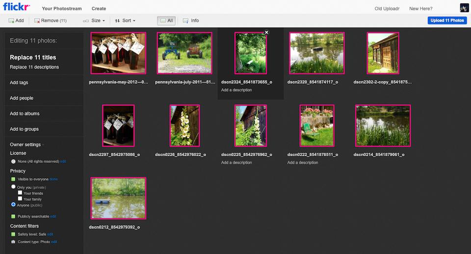 Flickr批量上传照片