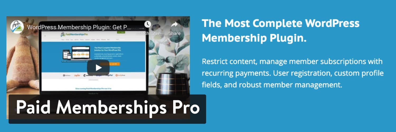 WordPress插件-Paid Memberships Pro