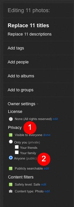 批量上传Flickr照片隐私设置