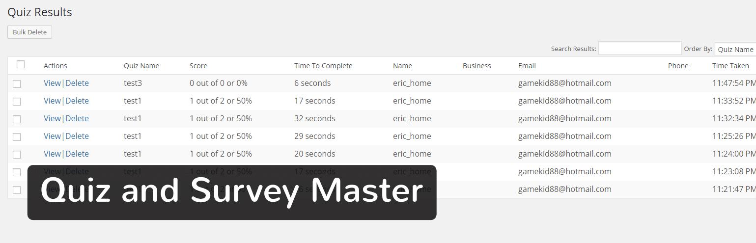 WordPress插件-Quiz and Survey Master