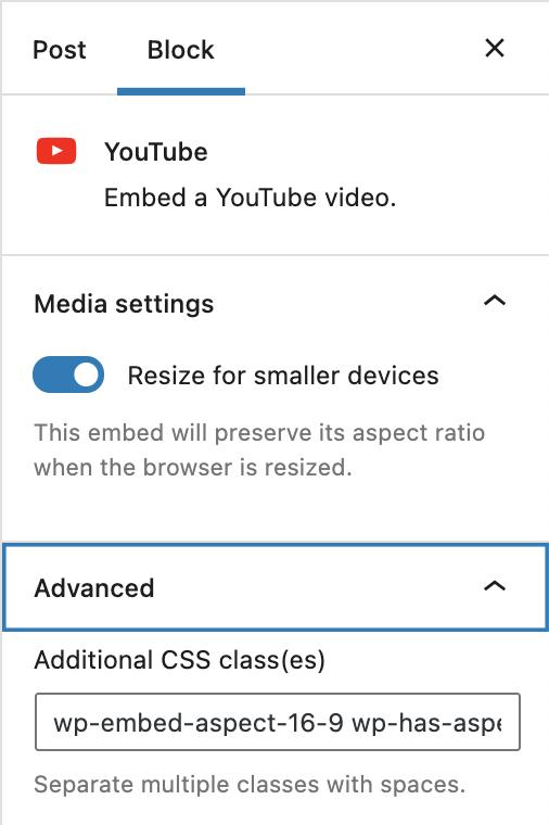 YouTube嵌入区块侧边栏设置