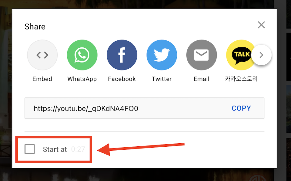 YouTube视频开始时间