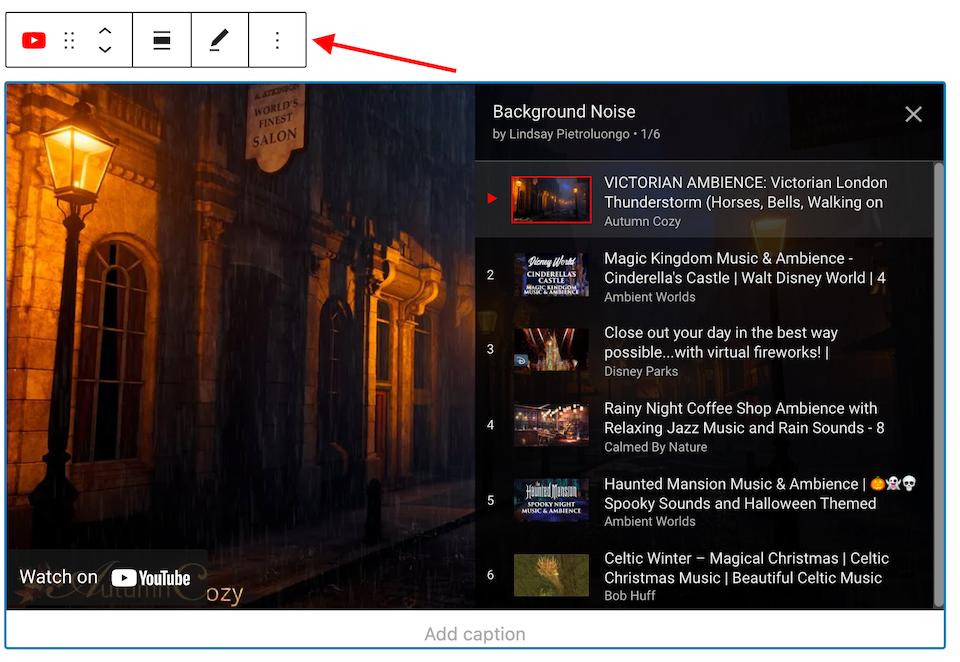 YouTube嵌入区块工具栏