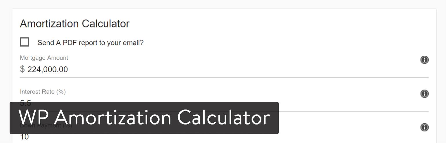 WordPress插件-WP Amortization Calculator