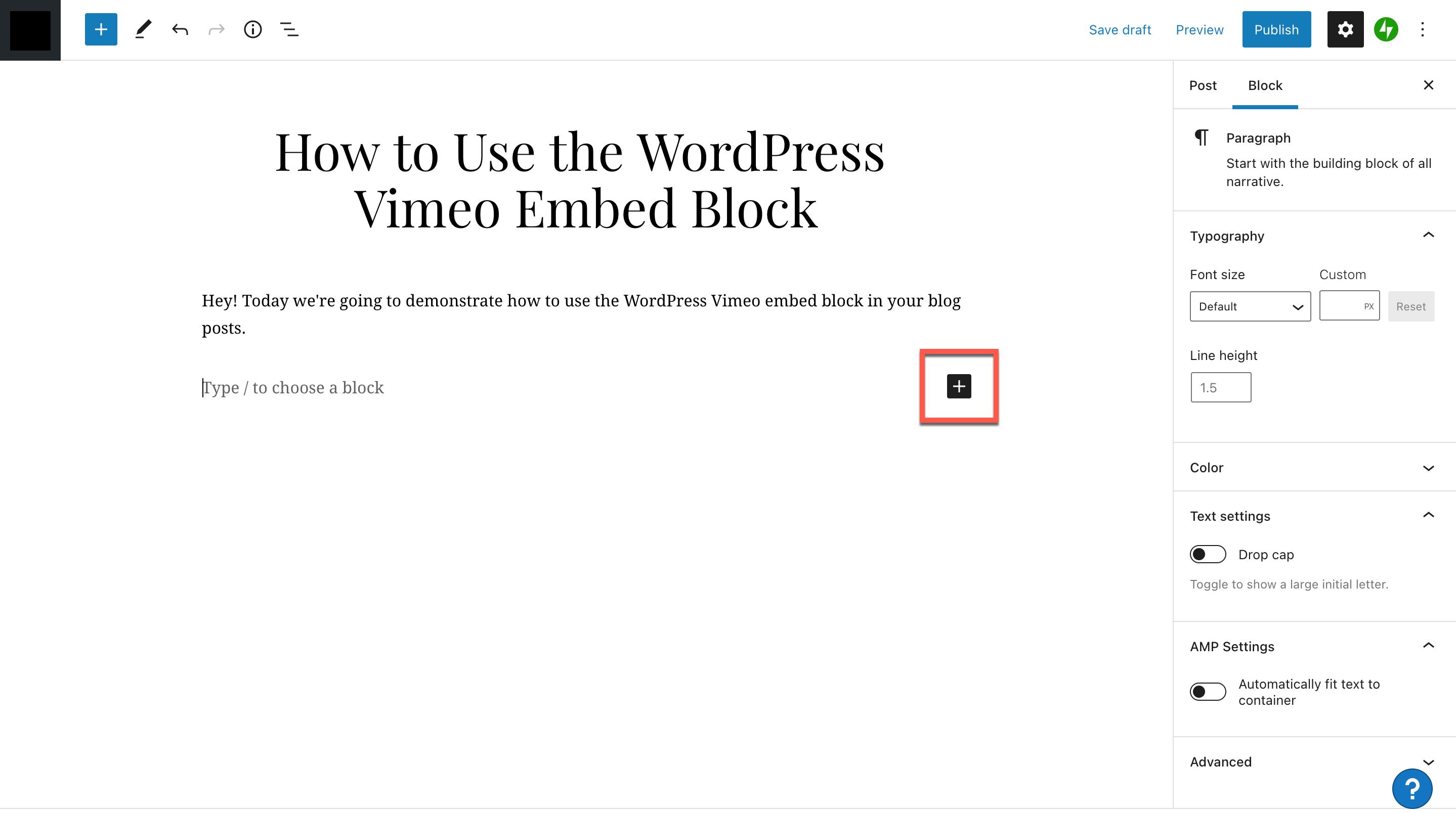 添加Vimeo嵌入区块