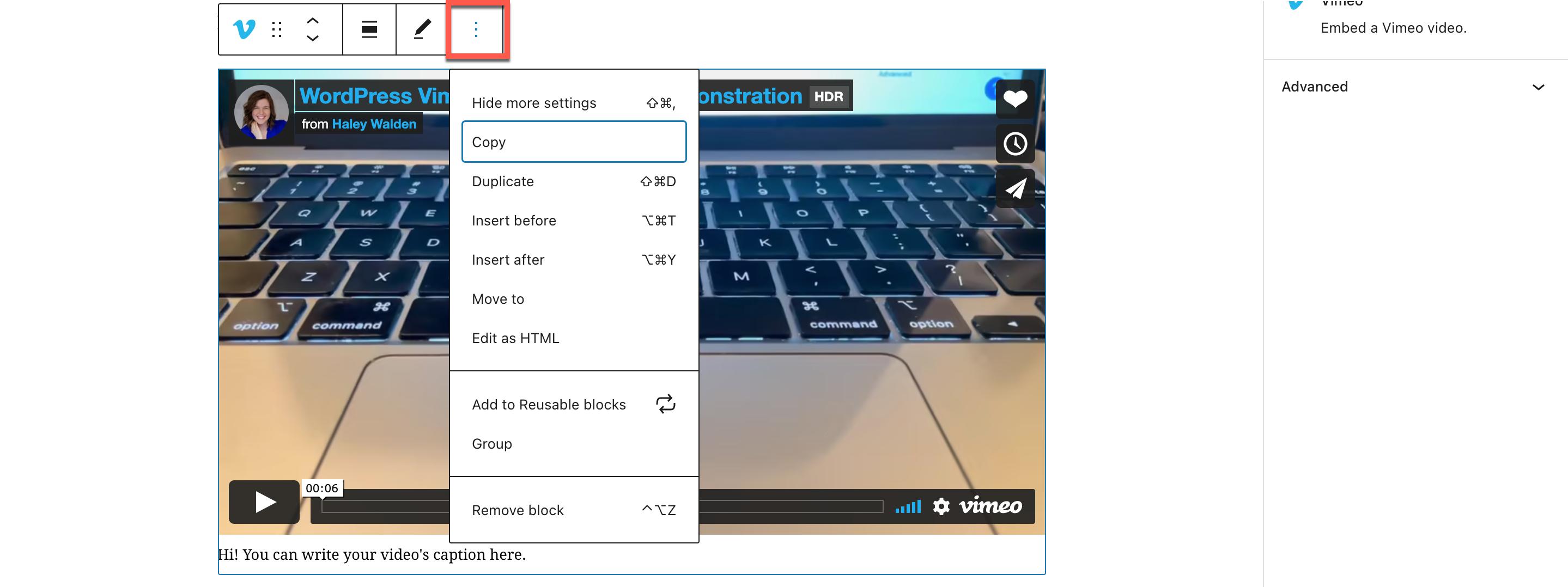 Vimeo嵌入区块更多操作选项