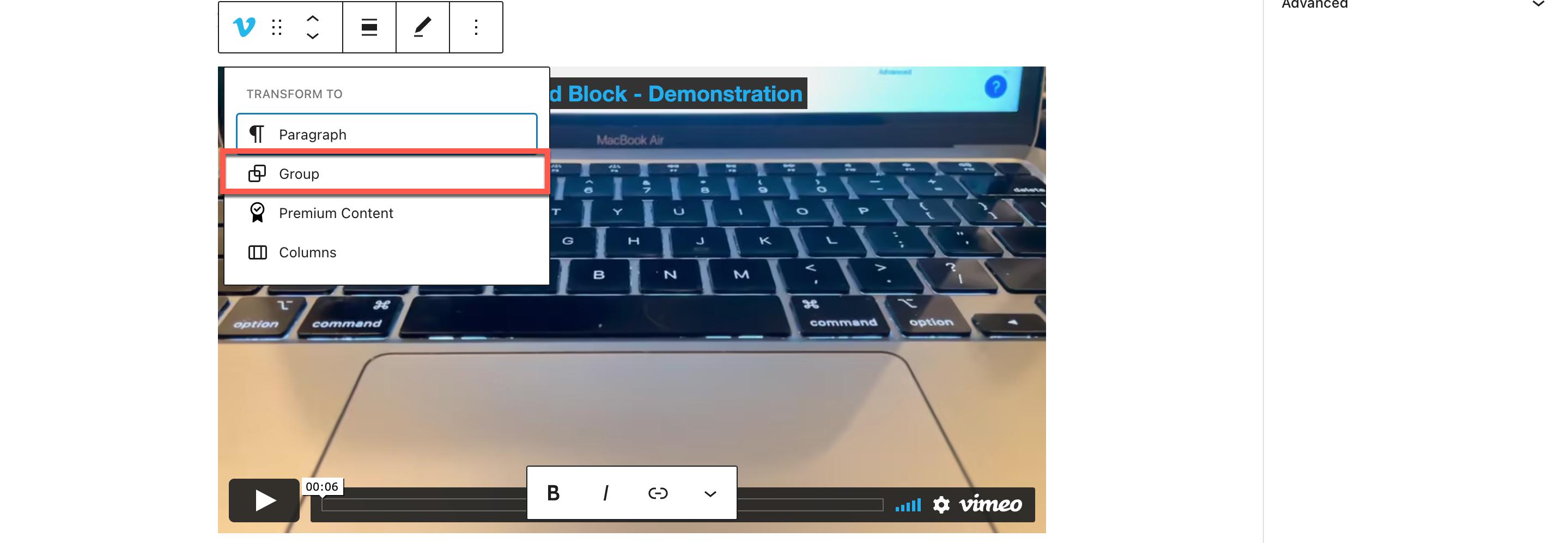 Vimeo嵌入区块背景颜色