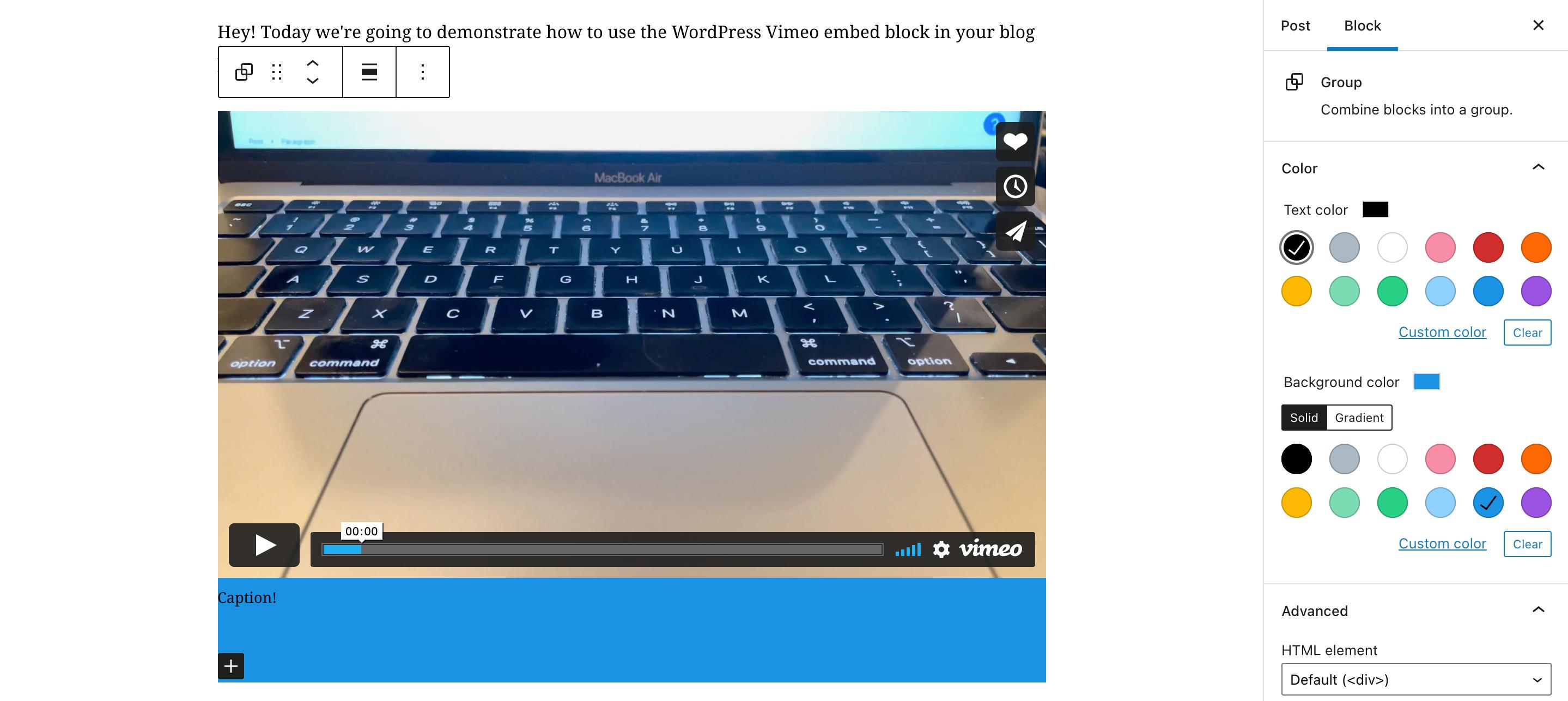 Vimeo嵌入区块视频标题