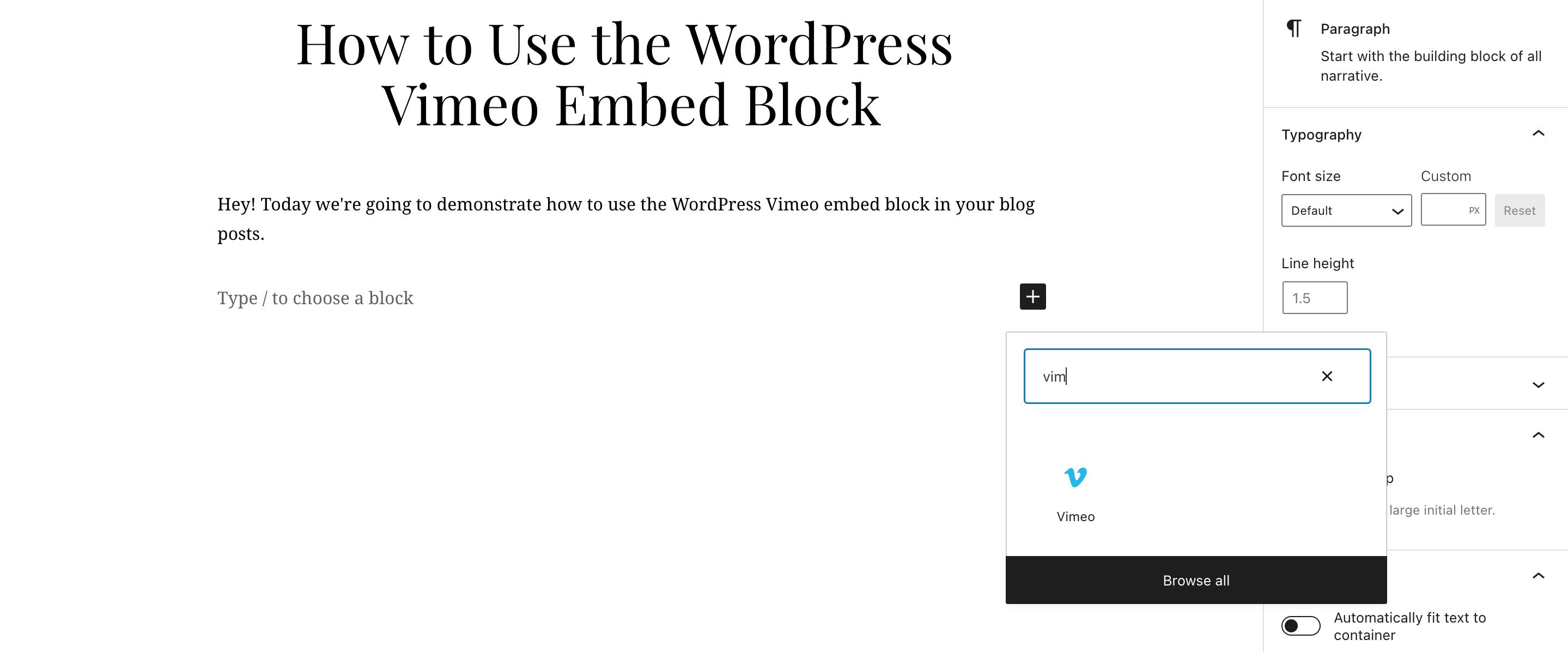 搜索Vimeo嵌入区块