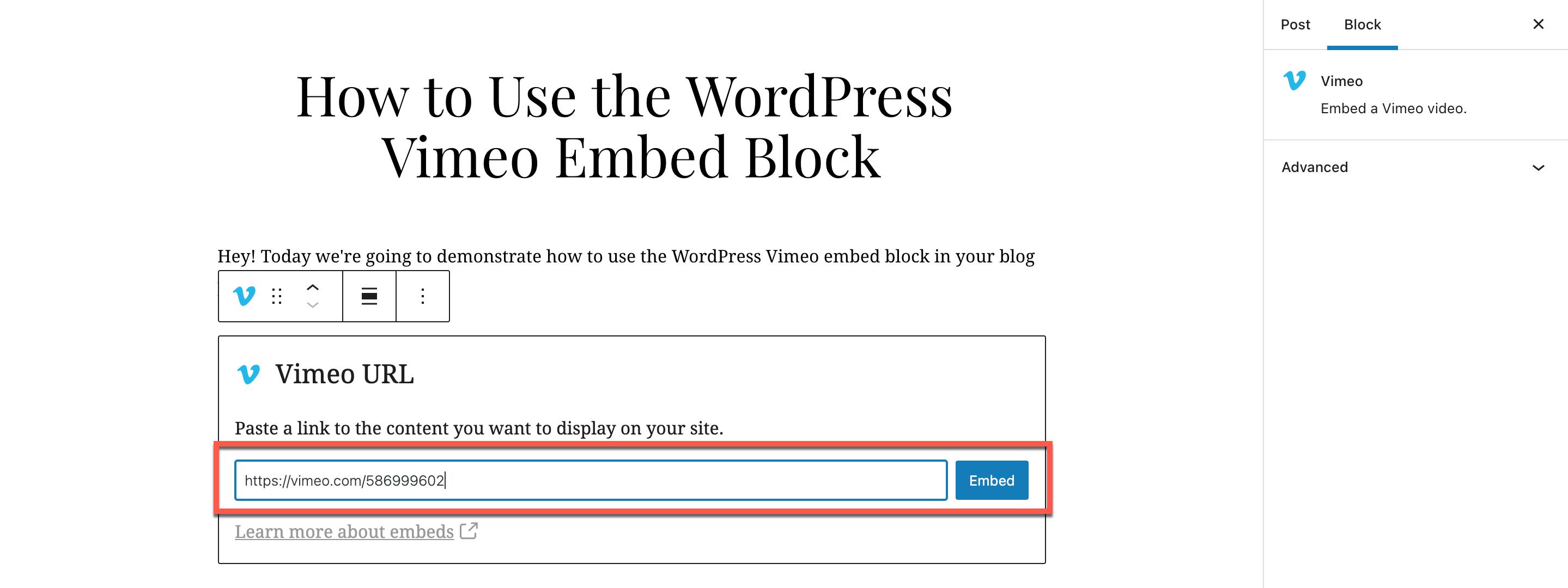 填入URL至Vimeo嵌入区块