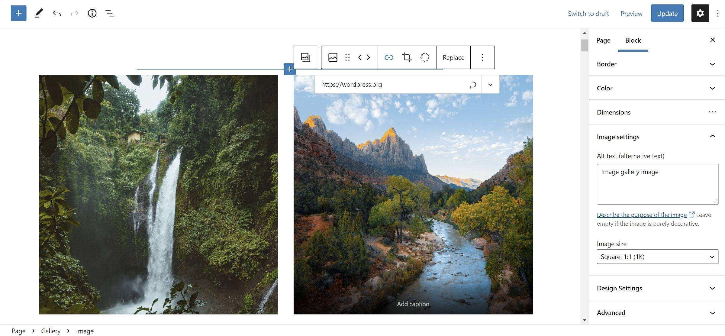 添加到画廊中图片区块的链接