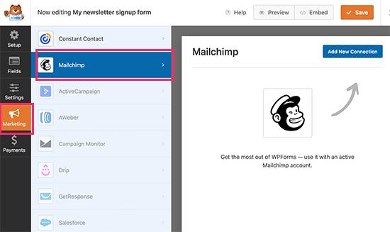 Mailchimp连接设置