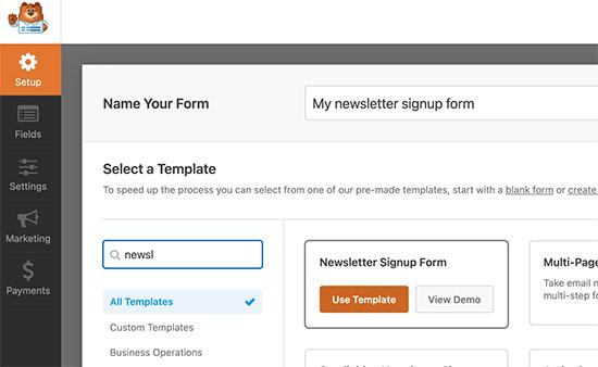 Newsletter signup form模板