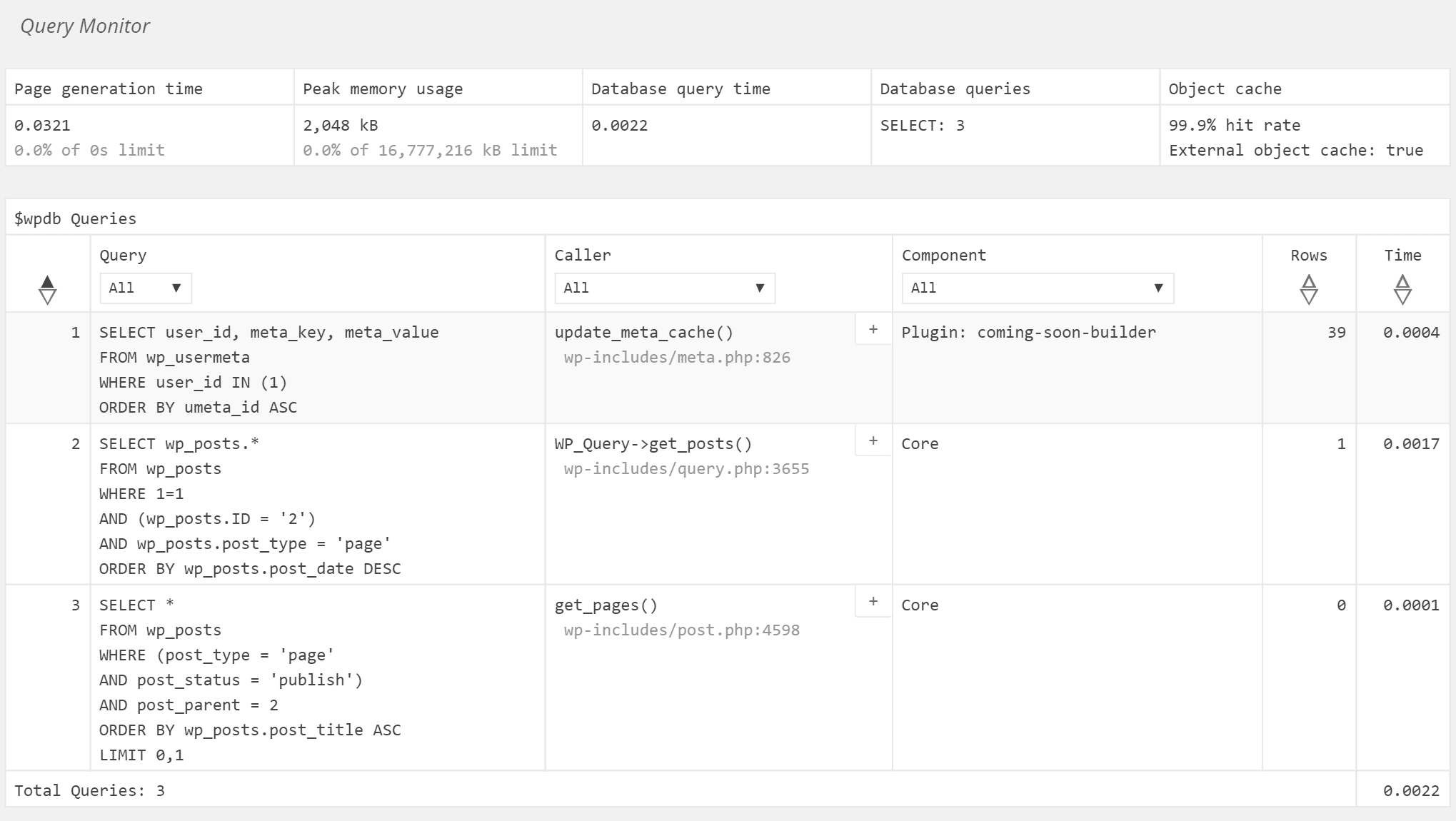 Query Monitor查询