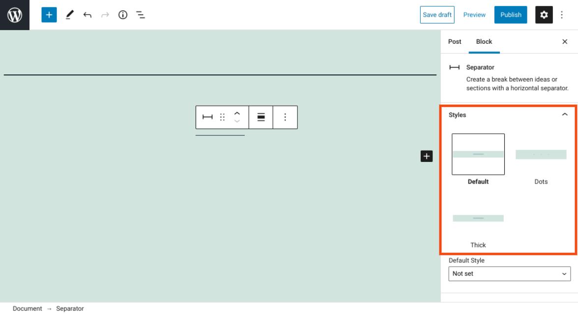 分隔符区块样式设置