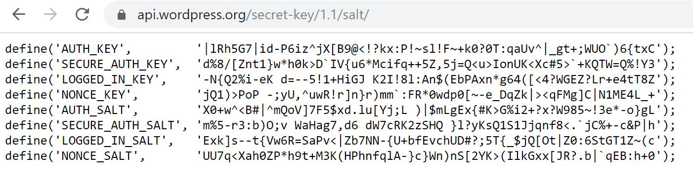 WordPress.org可以帮助您生成新的密钥和Salts
