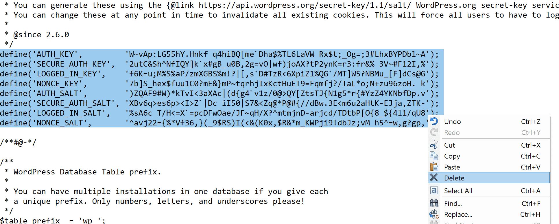 如何在wp-config.php中更改Salts