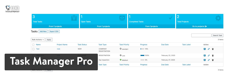 WordPress插件-Task Manager Pro