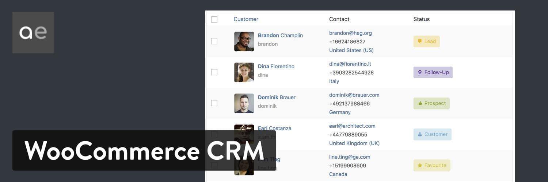 WordPress 插件-WooCommerce Customer Relationship Manager
