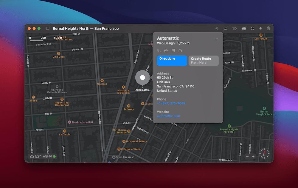 Apple地图中的自动化办公室