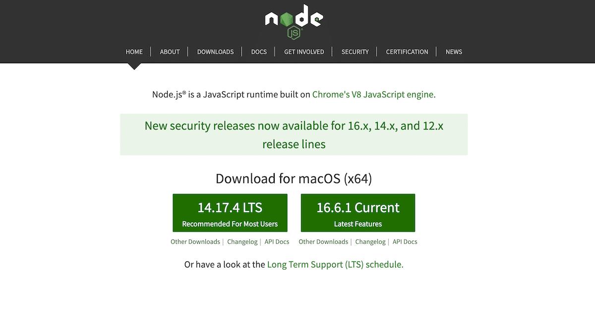 Node.js网站主页